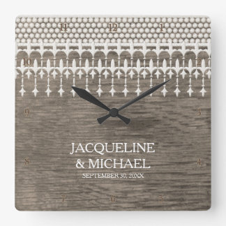 Rustic Vintage Lace Fence Board Script Typography Square Wallclocks