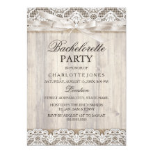 Rustic Vintage Lace & Wood Bachelorette Party Invitations