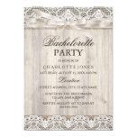 Rustic Vintage Lace & Wood Bachelorette Party Card