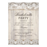 Rustic Vintage Lace & Wood Bachelorette Party 5x7 Paper Invitation Card