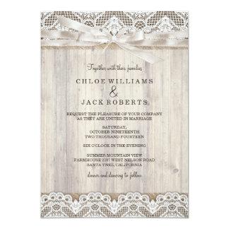 Rustic Vintage Lace & Wood Wedding Invitation