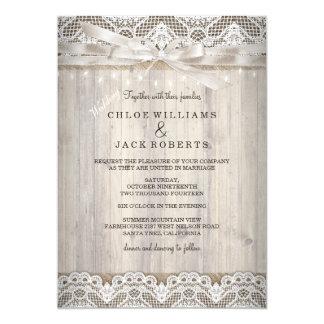 Rustic Vintage Lace Wood Wedding Lights Card