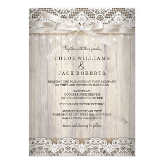 Rustic Vintage Lace Wood Wedding Lights Card
