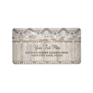 Rustic Vintage Lace Wood Wedding Lights Label