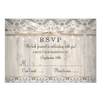 Rustic Vintage Lace Wood Wedding Lights RSVP Card