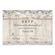 "Rustic Vintage Lace & Wood Wedding RSVP 3.5"" X 5"" Invitation Card"