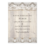 Rustic Vintage Lace & Wood Wedding Save The Date Card