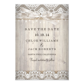 Rustic Vintage Lace Wood Wedding Save The Date Card