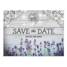 Rustic Vintage Lavender Save the Date Postcards