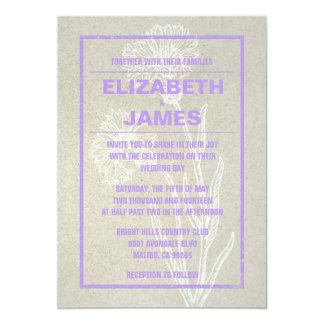 "Rustic Vintage Lavender Wedding Invitations 5"" X 7"" Invitation Card"