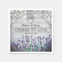 Rustic Vintage Lavender Wedding Paper Napkin