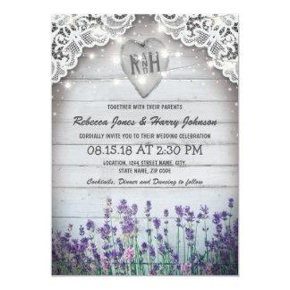 Rustic Vintage Lavender Wedding | Twinkle Lights Invitation