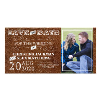 Rustic Vintage Leather Look Save The Date Photo Card