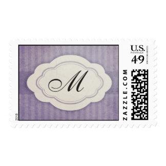 Rustic Vintage Lilac Monogram Wedding Stamps