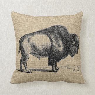Rustic Vintage Line Art Buffalo Throw Pillow