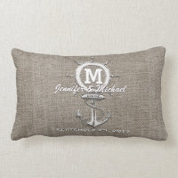 Rustic Vintage Linen with Anchor Nautical Lumbar Pillow