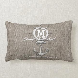 Rustic Vintage Linen with Anchor Nautical Lumbar Pillow