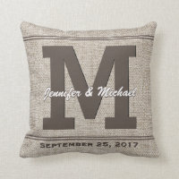 Rustic Vintage Linen with Monogram Throw Pillow