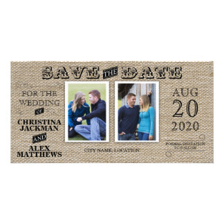 Rustic Vintage Look Save The Date 2 Photo Card