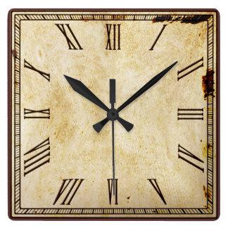 Rustic Vintage Look Square Roman Numeral Clock