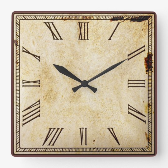 Rustic Vintage Look Square Roman Numeral Square Wall Clock Zazzle Com