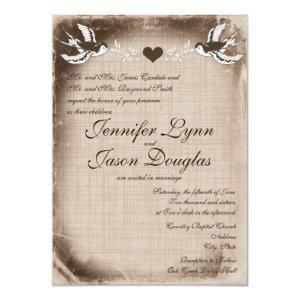 Rustic Vintage Love Birds Wedding Invitations Custom Invites