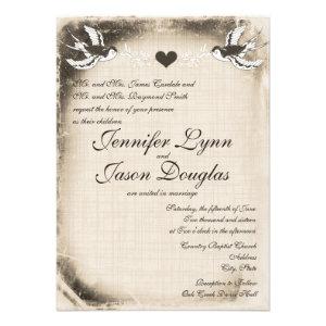 Rustic Vintage Love Birds Wedding Invitations Ver2 Announcements