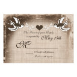 Rustic Vintage Love Birds Wedding RSVP Cards