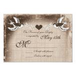 Rustic Vintage Love Birds Wedding RSVP Cards Custom Invite