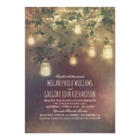 Rustic Vintage Mason Jar Lights Branches Wedding Card