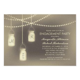 rustic vintage mason jar lights engagement party card