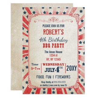 Rustic Vintage memorial day party Invitation