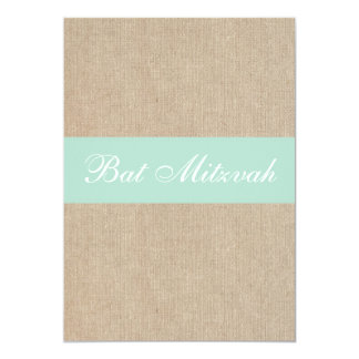 Rustic Vintage Mint Burlap Bat Mitzvah Invitation