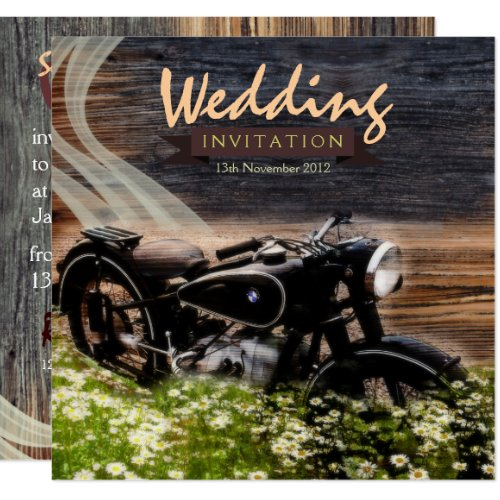 Rustic Vintage Motorbike Wedding Invitations