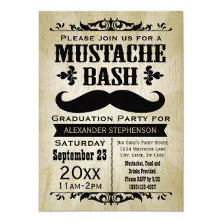 Rustic Vintage Mustache Bash Graduation Party 4.5x6.25 Paper Invitation Card
