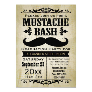"Rustic Vintage Mustache Bash Graduation Party 4.5"" X 6.25"" Invitation Card"