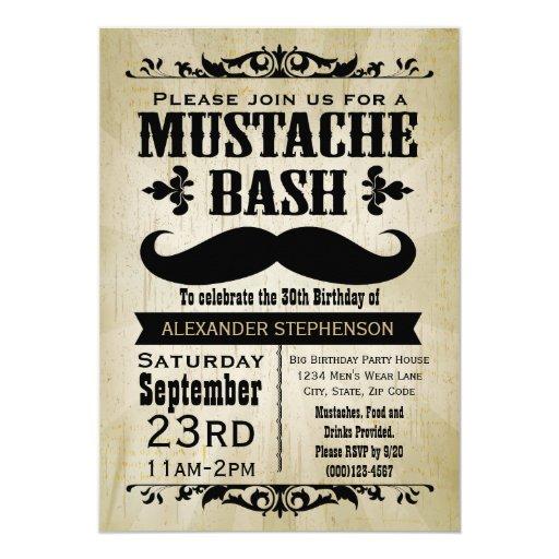 Rustic Vintage Mustache Bash Party 5x7 Paper Invitation