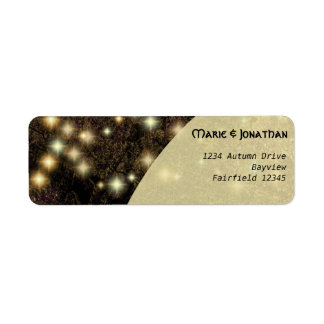 Rustic vintage oak tree with lights wedding return address label