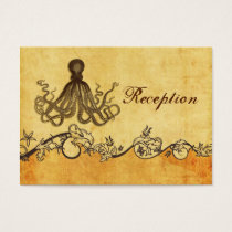 rustic, vintage ,octopus beach Reception cards