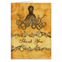 rustic, vintage ,octopus beach thank you card