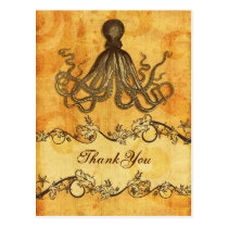 rustic, vintage ,octopus beach thank you postcard