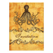 rustic, vintage,octopus beach wedding invites by mgdezigns