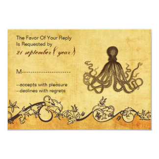 rustic vintage,octopus beach wedding rsvp 3.5 x 5 3.5x5 paper invitation card