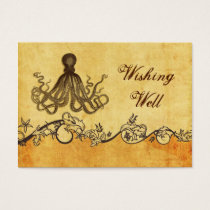 rustic, vintage ,octopus beach wishing well card