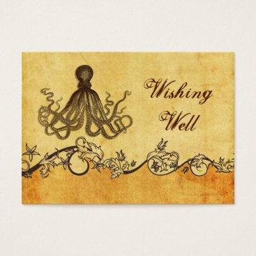 Beach Themed rustic, vintage ,octopus beach wishing well card