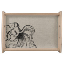 Rustic Vintage Octopus Illustration Serving Tray