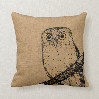 Rustic Vintage Owl Throw Pillow