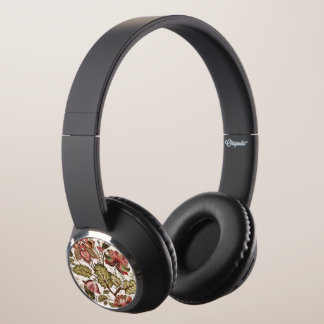 Rustic Vintage Paisley flower on creamy background Headphones