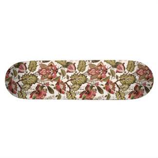 Rustic Vintage Paisley flower on creamy background Skateboard