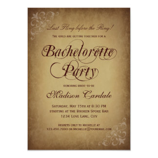 Rustic Vintage Paper Bachelorette Party Invitation Personalized Announcement